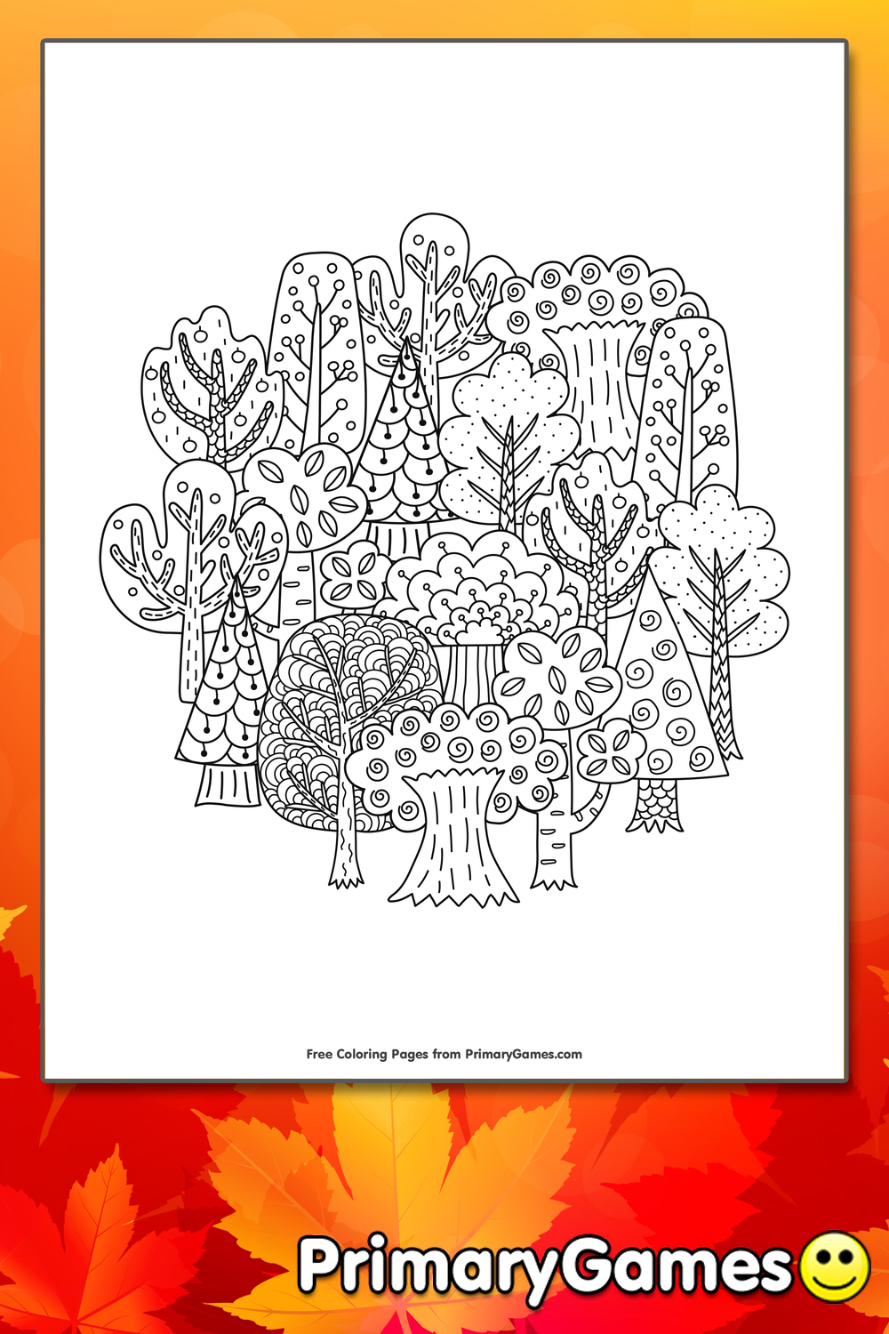 Fall Trees Coloring Page