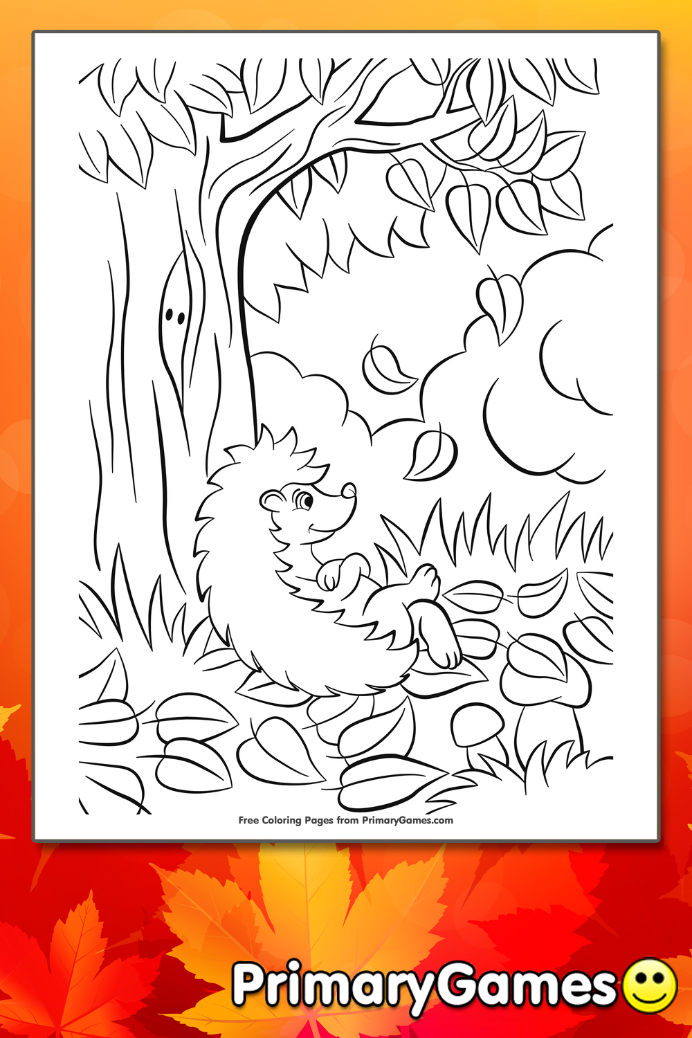 Hedgehog With Fall Leaves Coloring Page