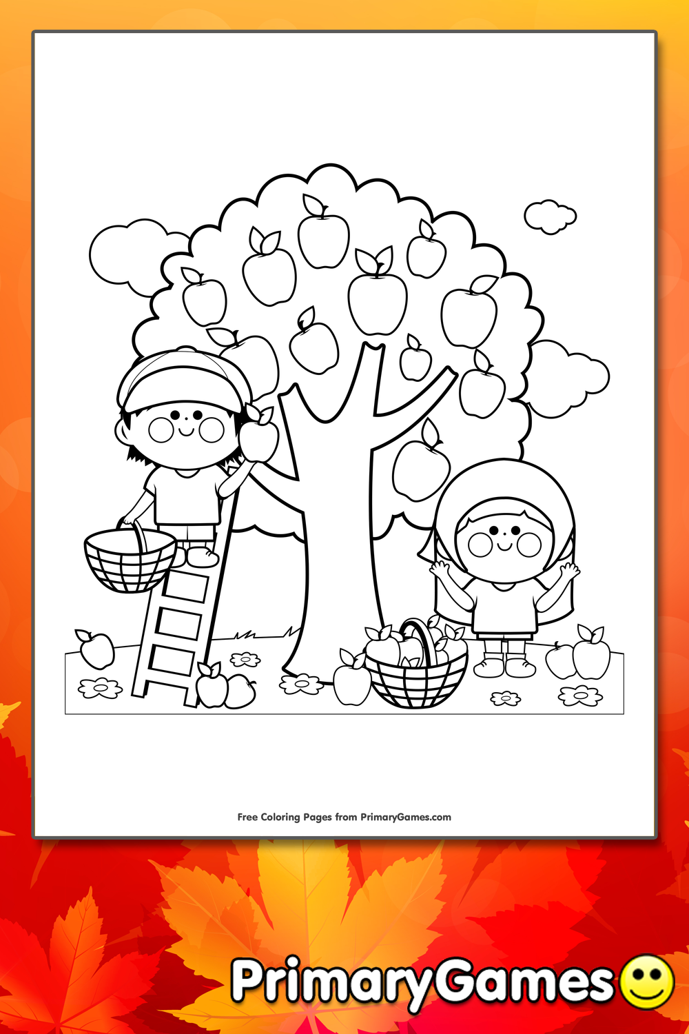 Children Picking Apples Coloring Page