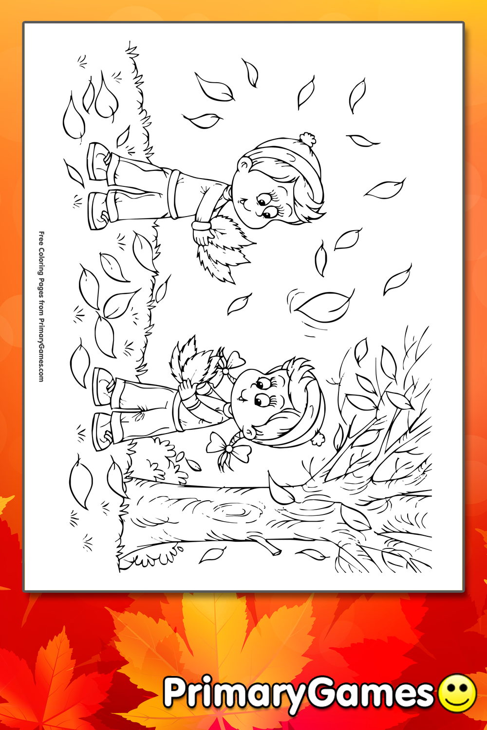Children Playing In The Leaves Coloring Page