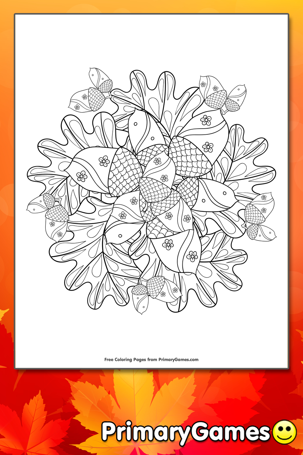Acorn And Leaves Mandala Coloring Page