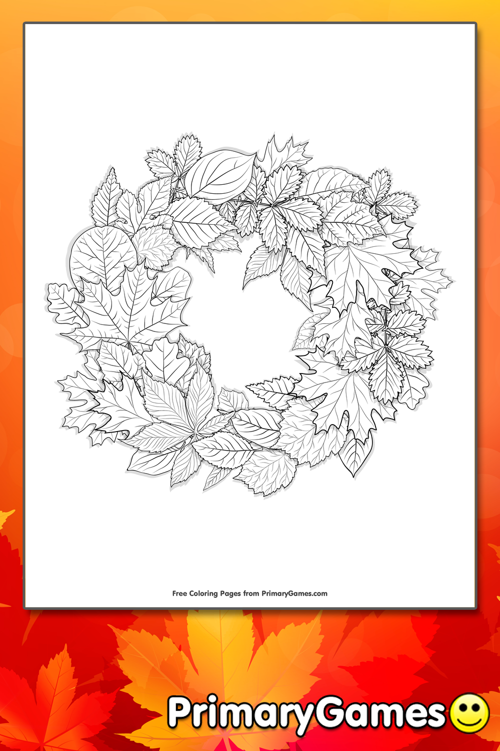 Leaves Wreath Coloring Page