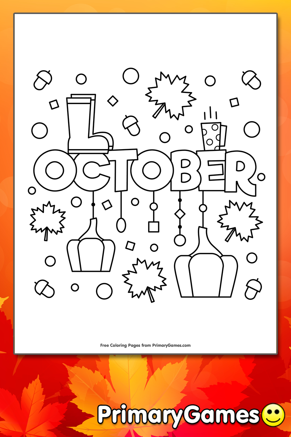 October Coloring Page Printable