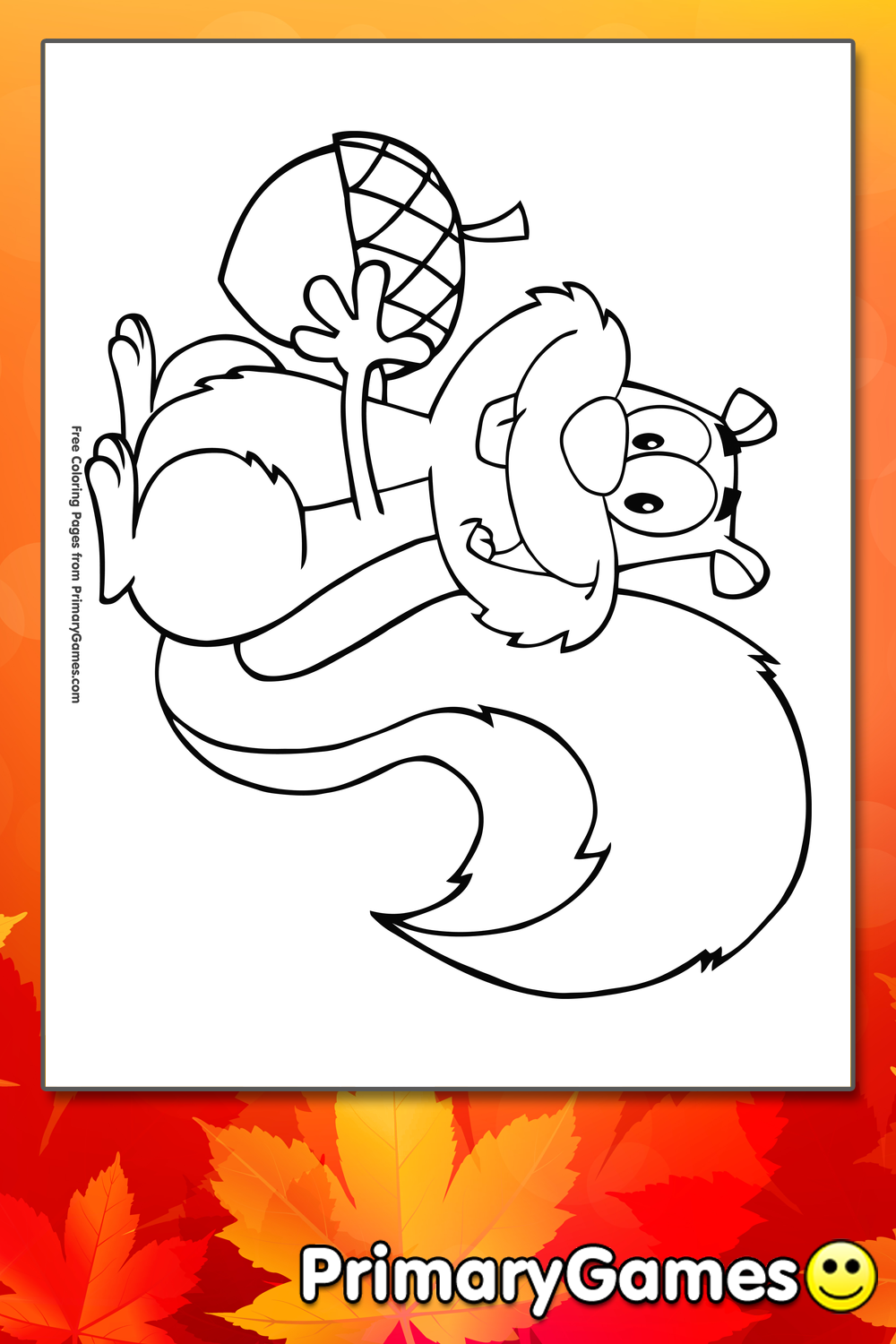 Cartoon Squirrel With Acorn Coloring Page | Printable Fall Coloring ...