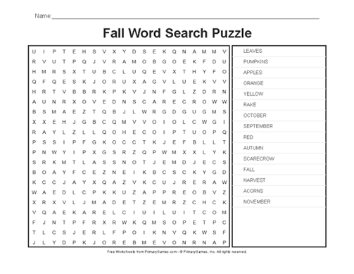 Fall Worksheets: Fall Word Search Puzzle - PrimaryGames - Play Free ...