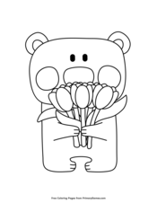 Bear with Tulips