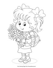 Girl Holding Spring Flowers