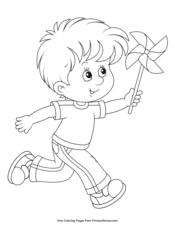 Boy Playing with a Pinwheel