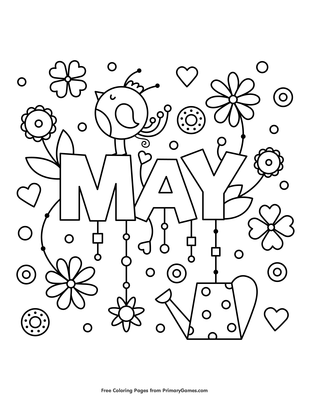 May Coloring Page  E  A Free Printable Pdf From Primarygames