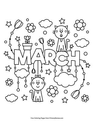 March Coloring Page | Printable Spring Coloring eBook - PrimaryGames