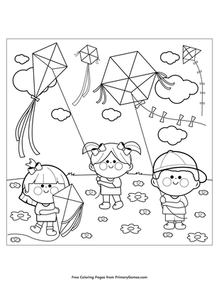 Boy with a Dog Flying a Kite coloring page | Free Printable ... | 400x309