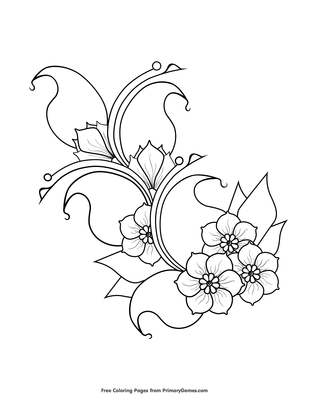 Cherry Blossoms Coloring Page Free Printable Coloring Books