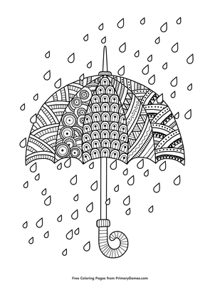 Rain Drops With Umbrella Coloring Page Free Printable Pdf From Primarygames