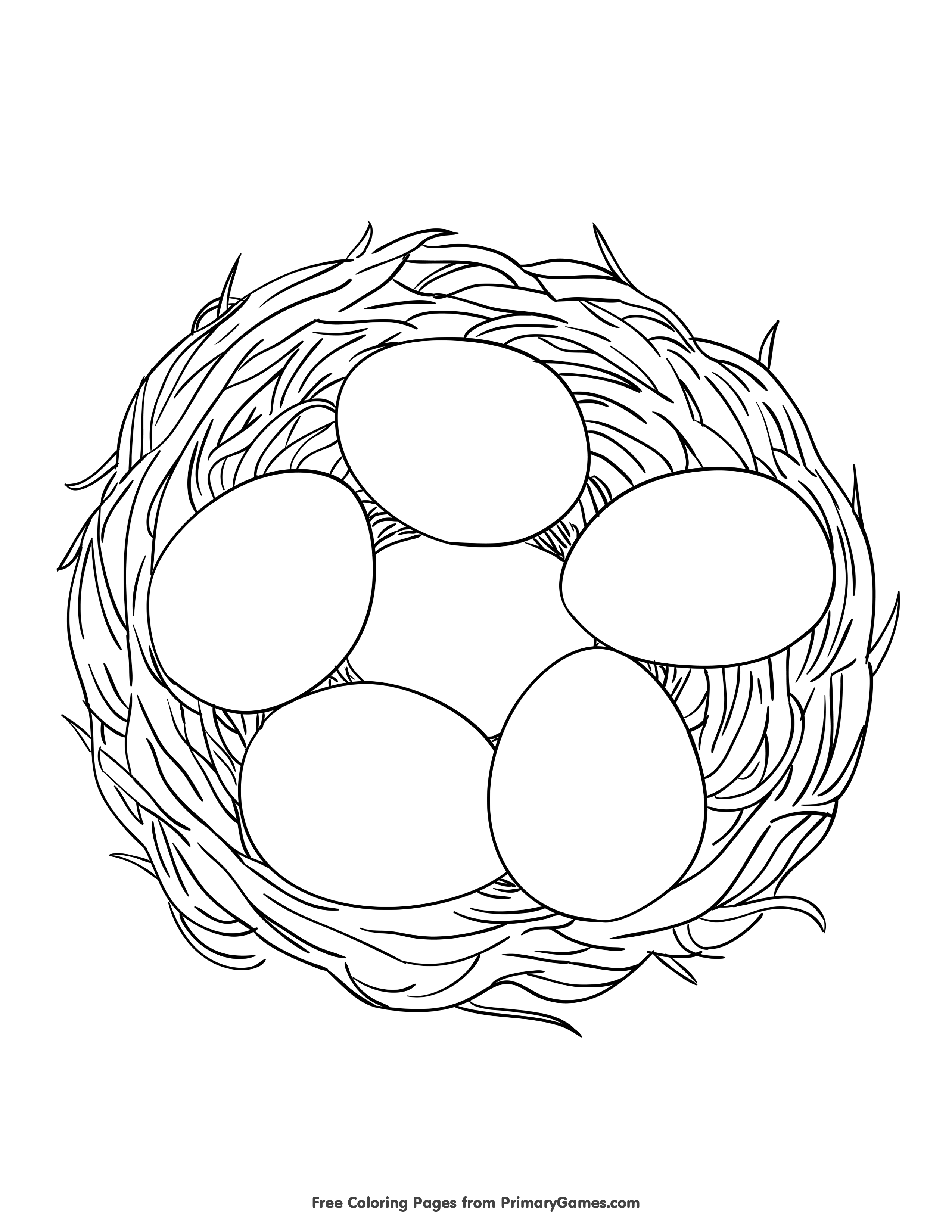 Eggs In A Nest Coloring Page Free Printable Pdf From
