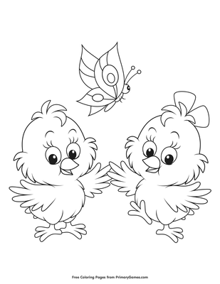 Baby Chicks and a Butterfly Coloring Page | Printable Spring ...