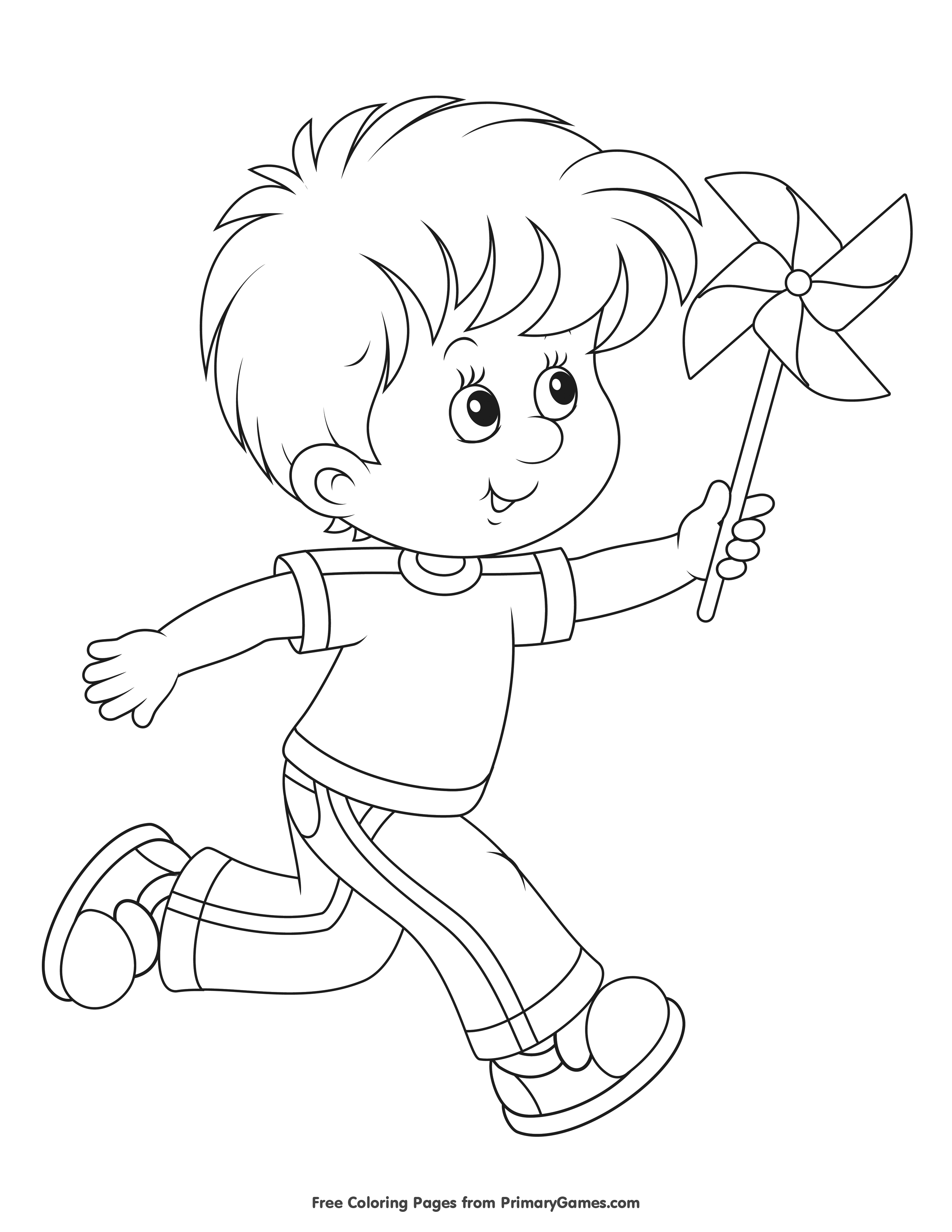 Boy playing with a pinwheel coloring page printable spring