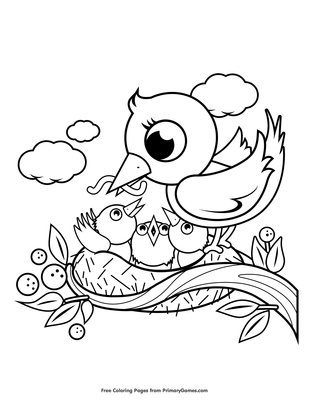 Mother and Baby Birds in a Nest Coloring Page | Printable ...