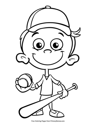Baseball Player Coloring Page Printable Spring Coloring