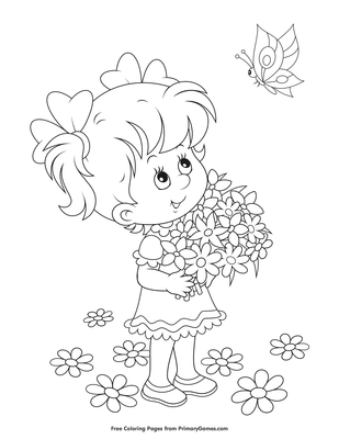Girl With Flowers And Butterfly Coloring Page Free