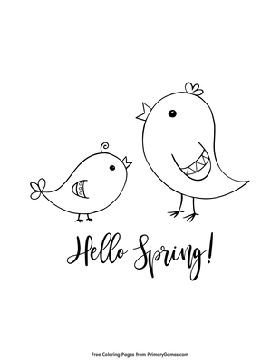 Hello Spring Coloring Page • FREE Printable PDF from PrimaryGames
