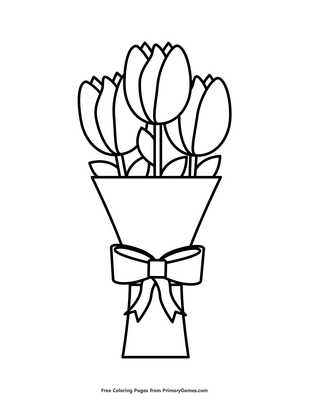 A simple coloring page of tulips | 400x309