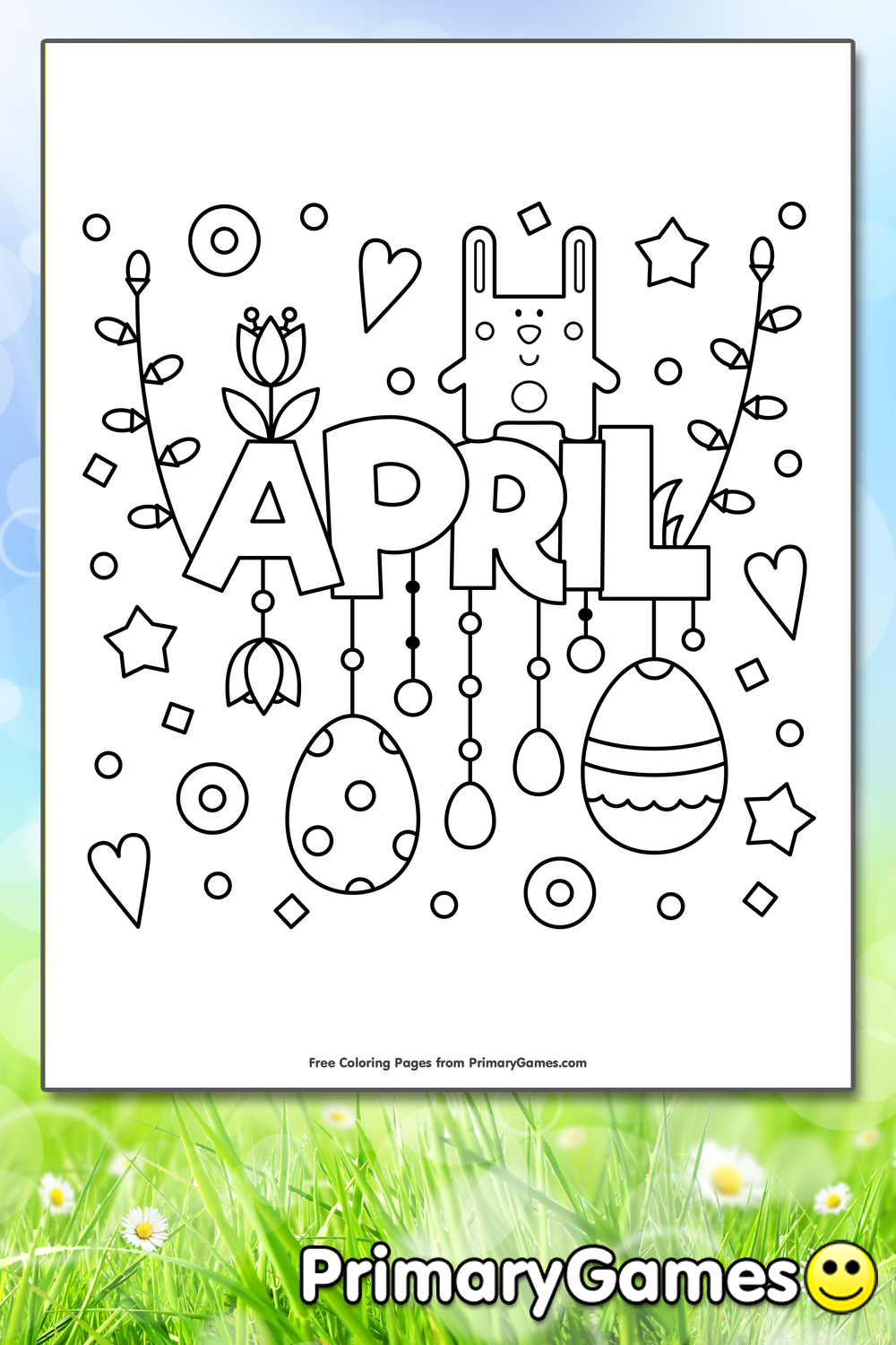 April Coloring Page Printable Spring Coloring eBook
