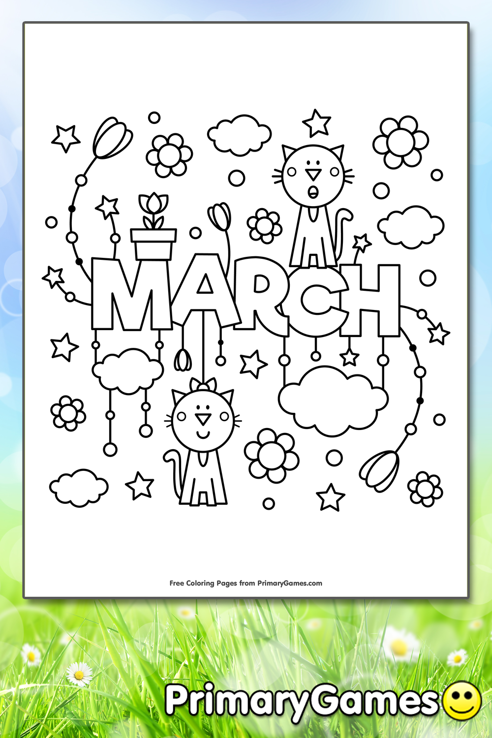 March Coloring Pages Pdf : March coloring page printable spring ebook
