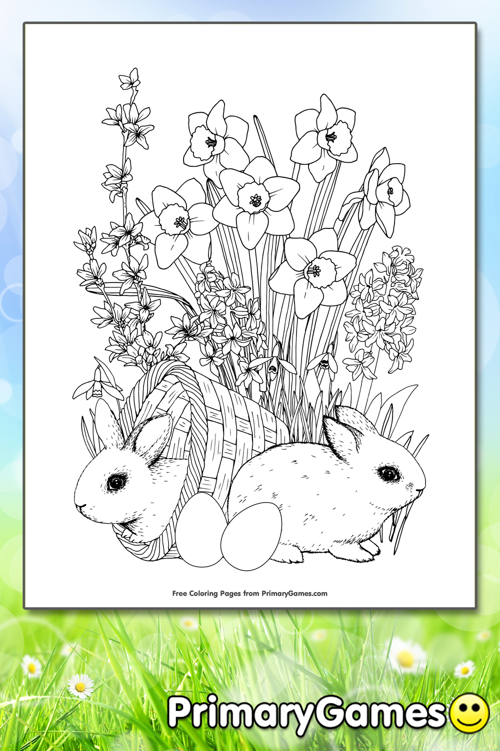 Bunnies and Spring Flowers Coloring