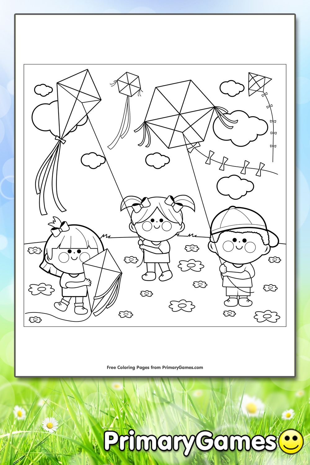 Kids Flying Kites Coloring Page Printable Spring