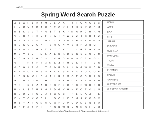 It is a graphic of Spring Word Search Printable within grade 1