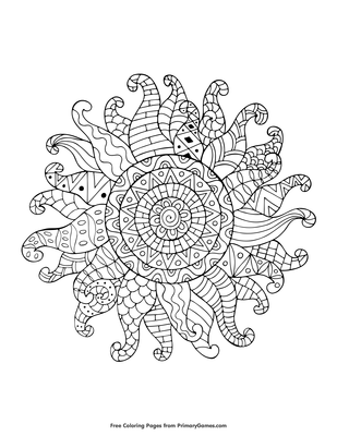 Zentangle Sun Coloring Page | Printable Summer Coloring ...