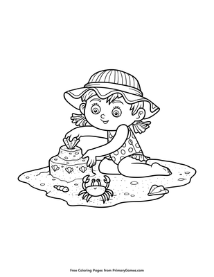 Girl Building Sand Castle Coloring Page Free Printable