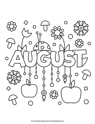 August Coloring Page Printable Summer Coloring Ebook Primarygames