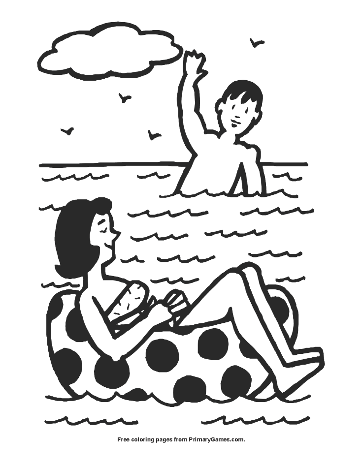 People Swimming Coloring Page Free Printable Coloring Books