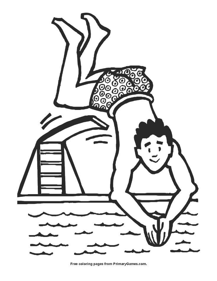 Man Diving Coloring Page Printable