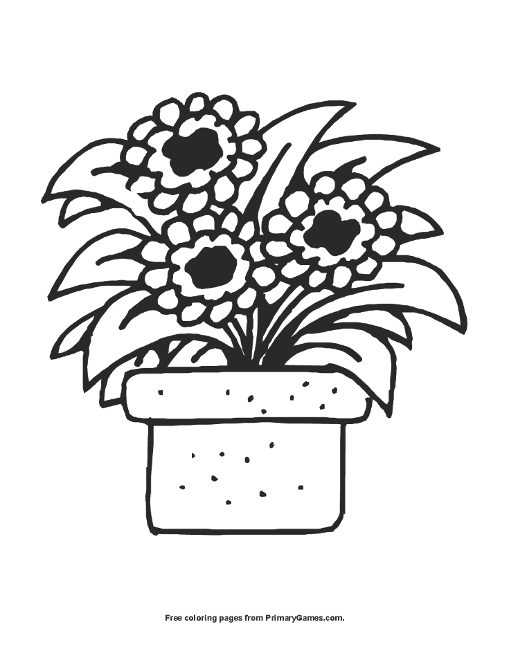 Summer Coloring Page Flower Pot PrimaryGames Play Free Online
