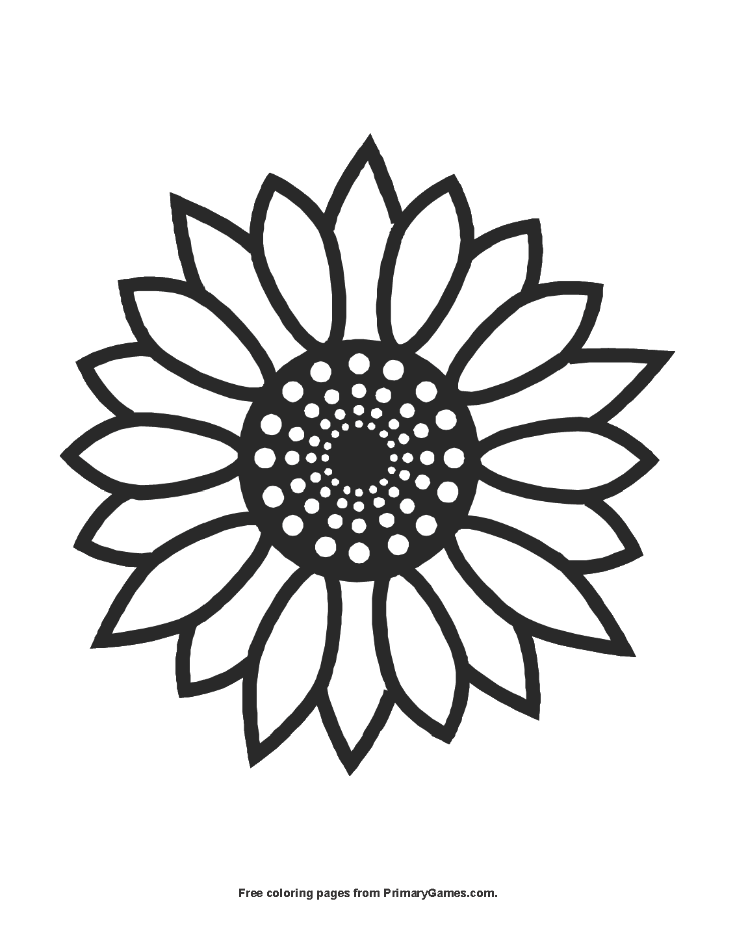 Sunflower Coloring Page Printable Summer Coloring eBook