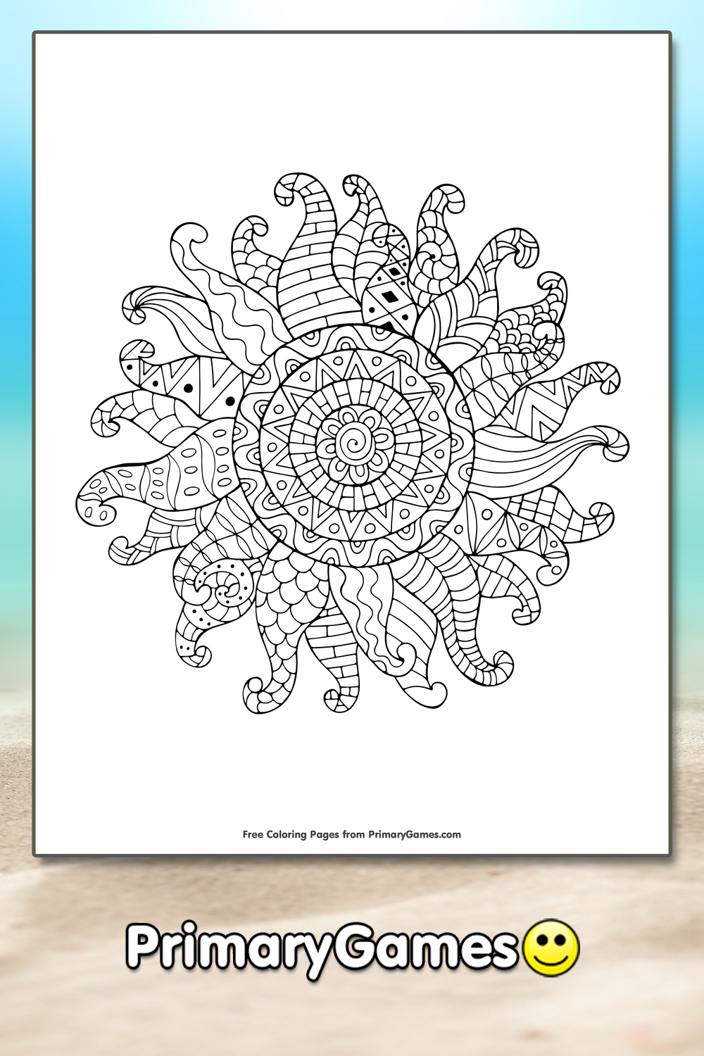 summer coloring pages pdf - zentangle sun coloring page printable summer coloring