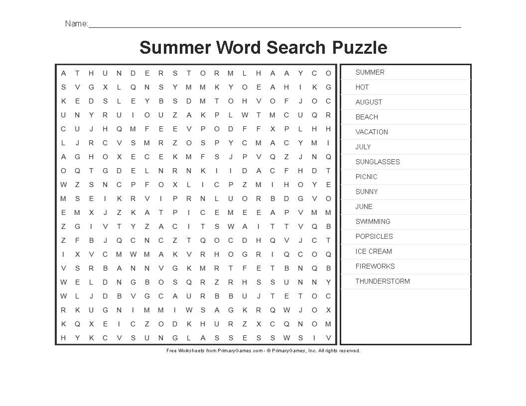 Summer Worksheets Word Search Puzzle