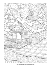 Zentangle Winter Cabin