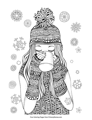 hot chocolate coloring pages Girl Drinking Hot Chocolate Coloring Page | Printable Winter  hot chocolate coloring pages