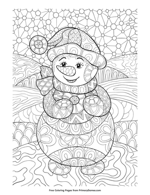 Zentangle Snowman Coloring Page Printable Winter Coloring Ebook