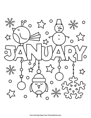 January Coloring Page Printable Winter Coloring Ebook Primarygames