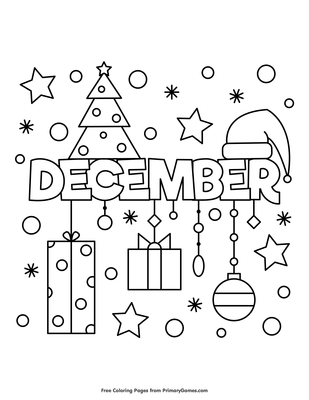 December Coloring Page | Printable Winter Coloring eBook - PrimaryGames