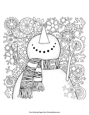 Snowman Coloring Page Free Printable Pdf From Primarygames