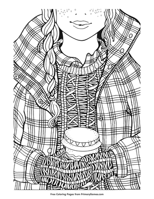 Winter Girl And Coffee Coloring Page Free Online Coloring