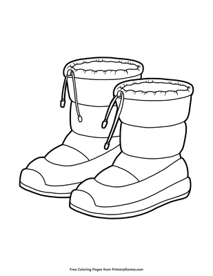 Snow Boots Coloring Page • FREE Printable PDF from PrimaryGames