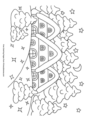 Snowy House Coloring Page Free Printable Pdf From Primarygames