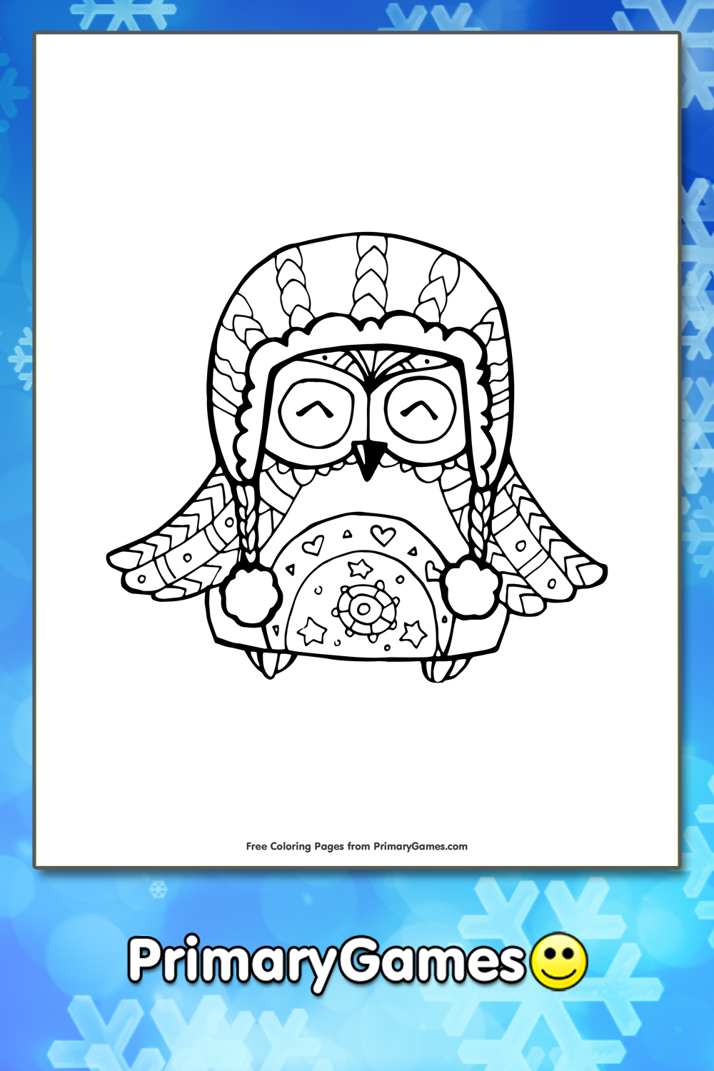 Owl In Winter Hat Coloring Page Printable Winter