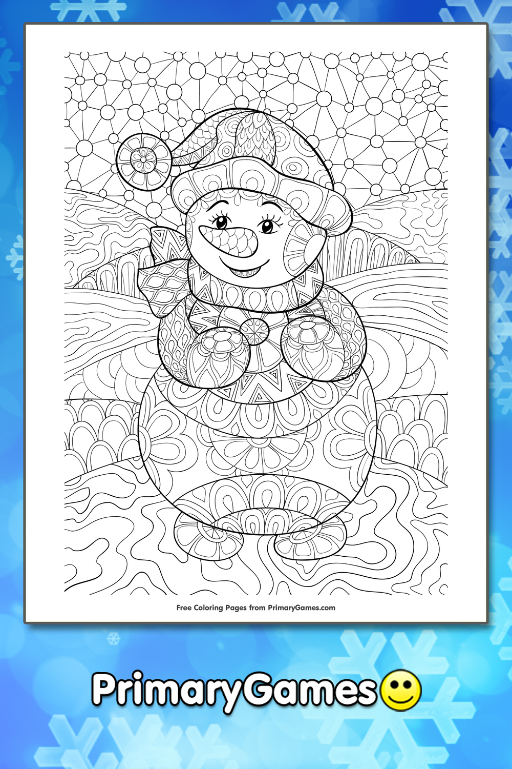 Winter Coloring Page Zentangle Snowman